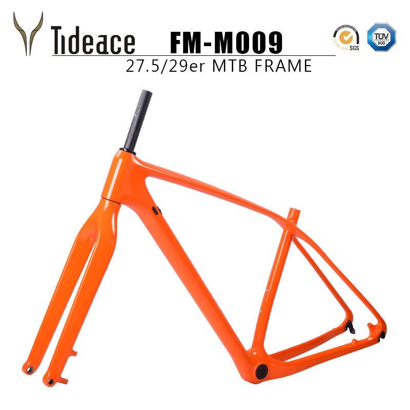 Orange Fibre de Carbone T800 Mountain Bike Frame 29er avec 12142mm MTB Fourche Avant