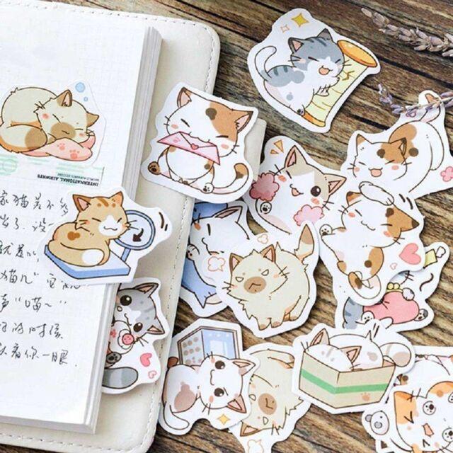 45PCS Japanese Cute Cat Stickers Diary Decoration DIY Scrapbooking Stickers Mini