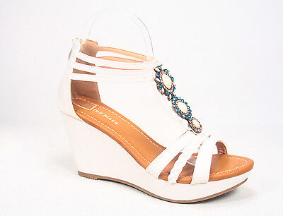 Sexy Stone Pendant T- Strap Open Toe Wedge Heel Platform Sandal Size 5 - 10 NEW