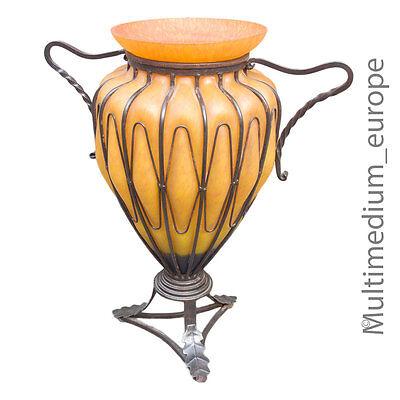 Grosse Schöne Vintage Boden Vase Glas Mit Eisenmontur Im Art Deco Stil Glass Reich An Poetischer Und Bildlicher Pracht