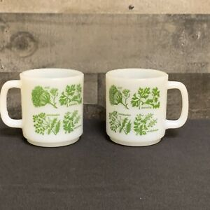 Vintage-MILK-GLASS-D-handle-Green-Herbs-Stackable-lot-of-2-Coffee-Cup-Mug