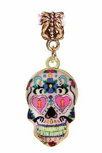 Day-of-the-Dead-Sugar-Skull-Mexico-Pink-Gold-Dangle-Charm-for-European-Bracelet