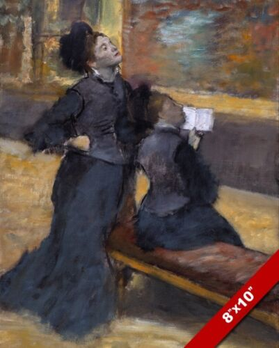 WOMEN IN DRESSES VISIT TO A MUSEUM EDGAR DEGAS PAINTING ART REAL CANVAS PRINT