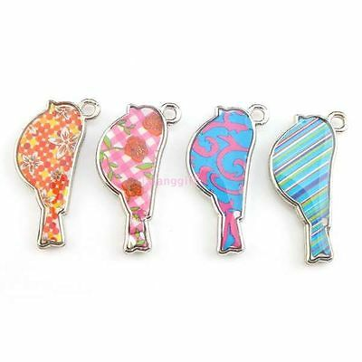 20x 143453 NEW Charms Enamel Mixed Colorful Birds Silver Alloy Jewelry Pendants