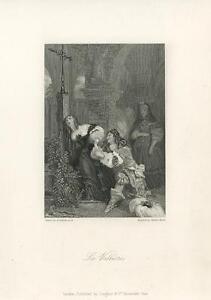 ANTIQUE-LOUISE-DE-LA-VALLIERE-DUCHESSE-SORROW-MOURNING-WOMAN-CEMETERY-PRINT