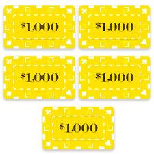 5 Ct Square Rectangular 32 Gram $1000 Yellow Poker Plaques Square Chips