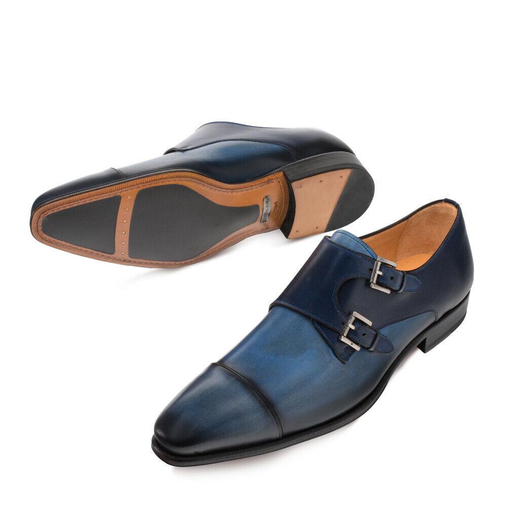 NEW Mezlan Mens Double Monk Dress scarpe Fashion Leather Bardem 2 Tone blu