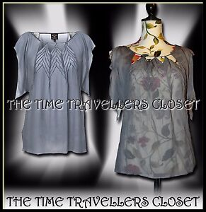 Details about KATE MOSS TOPSHOP GREY SHEER CHIFFON ANGEL SLEEVE FLUTTER TOP  BLOUSE ZIGZAG UK10