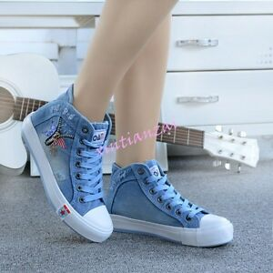 Womens Cute Girls Lace Up Denim Canvas High Tope Fashion Shoes Sneakers College