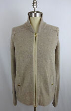 J Crew Women's L Large Gilded Sweater Jacket Merino Wool Beige Gold Zip Up Top