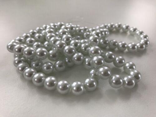 100 Stück Glaswachsperlen 8 mm weiß  Perlen basteln Schmuck Perlen V247