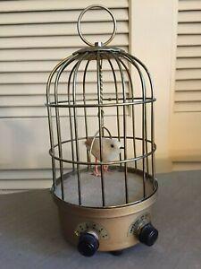 """Antique Metal 9"""" Singing Bird Cage Evident Effect Antiques Self-Conscious Rare"""