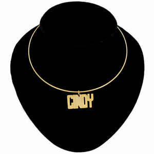 Cindy-Name-Jewelry-Choker-Gold-Tone-Bangle-Wire-Necklace-Vintage-15-1-2-034
