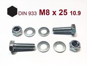 1 Stück Schraube DIN 933 M8x60 10.9 verzinkt Mutter M8 Kl.10
