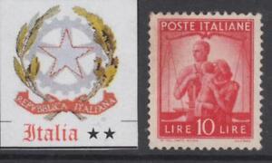 ITALY-Repubblica-1945-Democratica-10-Lire-Sassone-n-559-cv-110-MNH