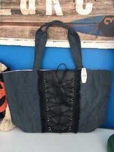 Victoria-s-Secret-Tote-Corset-Handbag-Shoulder-Purse-Denim-Black-Satin-Lace-New