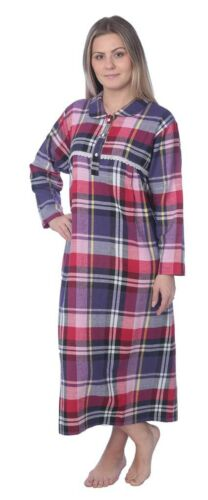 Women/'s Full Length Brushed Cotton Flannel Plaid Nightgown Lounger 3X Plus