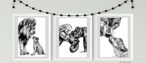 parenthood Animal nursery prints Mother Father Baby Lion Elephant Wolf Prints