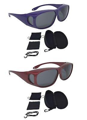 Überzieh Sonnenbrille Sonnenüberbrille Spar-edition 2 Stück (lila, Rot)