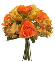 Orange Fall Roses Hydrangea Tulips Bridal Bouquet Silk Wedding Flowers Decor