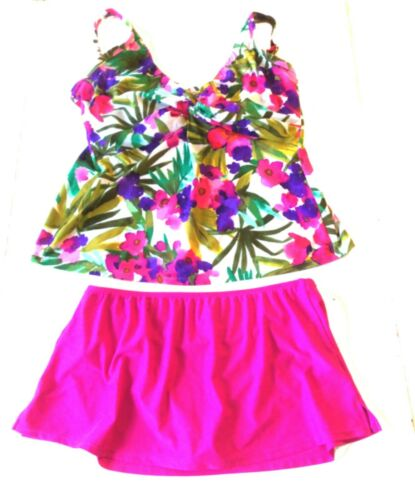 Sunsets/Catalina Pink Floral Tankini Top & Fuschia
