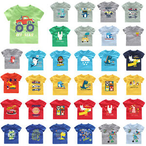 Kid-Boy-Cartoon-Printed-T-shirt-Short-Sleeve-O-Neck-Summer-Casual-Cotton-Tee-Top