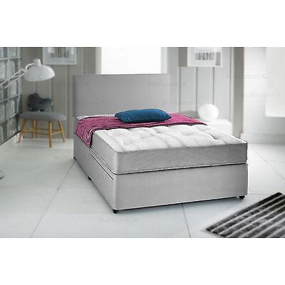 GREY SUEDE DIVAN BED SET + MEMORY MATTRESS + HEADBOARD 3FT 4FT6 Double 5FT King