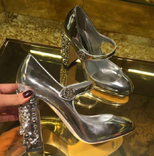 NEW donnaPatent Leather Rhinestones Rhinestones Rhinestones Rivets Mary Janes scarpe High Heel scarpe qL98 8de661