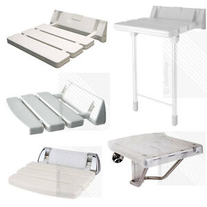 Wall Mounted Bathroom Fold Down Shower Seat | White & Chrome ...