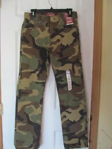 eb45e0369 NWT Men's ARIZONA JEAN CO. GREEN Camouflage SLIM STRAIGHT Pants W 30 ...