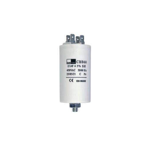 Kondensator Anlaufkondensator Motorkondensator 15 µF uF 450V mit AMP-Steckfahnen
