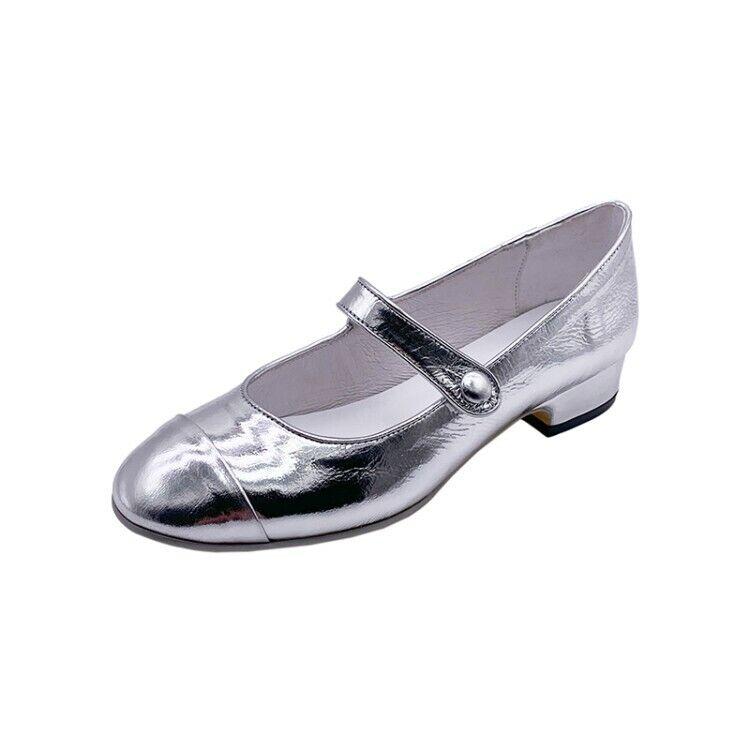 buona qualità donna Glitter Genuine Leather Low Heels Block Buckle Casual Casual Casual scarpe Mary Jane New  merce di alta qualità e servizio conveniente e onesto