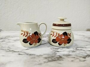 Winterling Bavaria Roslau China Sugar Bowl & Creamer Set Tan Rust Floral Pattern