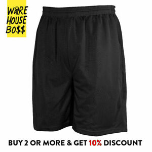 MENS PLAIN MESH SHORTS 2 POCKET CASUAL BASKETBALL SHORTS GYM FITNESS HIP HOP