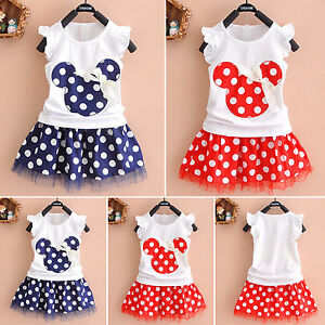9b005bc8dddcb Kids Baby Girl Minnie Mouse Outfit Clothes T-shirt Top Skirt Set ...