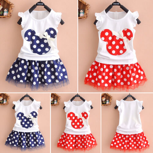 Kids Baby Girl Minnie Mouse Outfit Clothes T-shirt Top Skirt Set Dress Summer