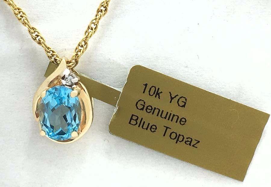 GENUINE 1.82 Carats blueE TOPAZ & DIAMOND PENDANT 10k Yellow gold New with Tag