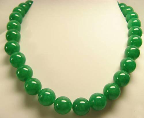 "collier Long 18/"" 25/"" 36/"" 50/""6mm 8 mm 10 mm 12 mm 14 mm Véritable Vert Jade Perles rondes"