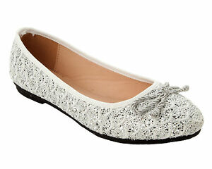 WOMENS LACE BRIDESMAID WEDDING EVENING PARTY FLAT DOLLY PUMPS SHOES LADIES SIZE