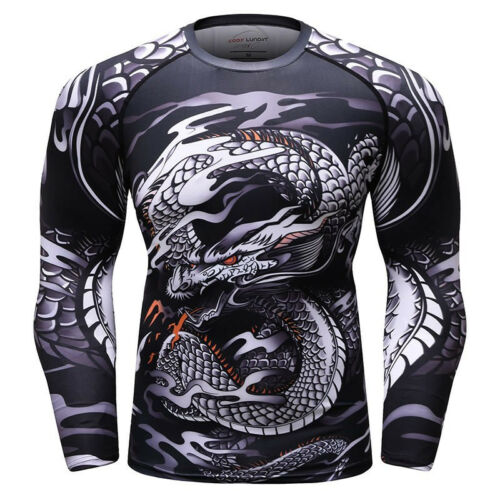 Mma Bjj Rash Guard Compression Long Short Sleeve Top Mens Gym Base Layer Shirt