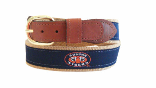 ZEP PRO University of Auburn Tigers Leather Canvas Embroidered Ribbon Belt