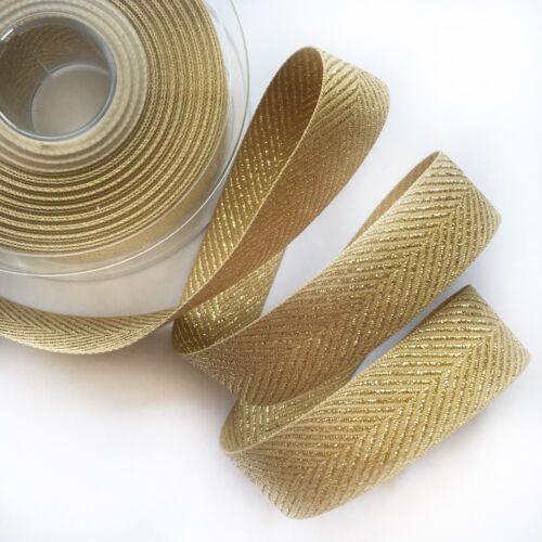 Rustique Craft ruban tissé Berisfords Gold Metallic Glitter Chevron Zig Zag 1 m