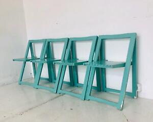 Dettagli su Set 4 Sedie sedia chair pieghevole legno design ANNI 60 VINTAGE modernariato