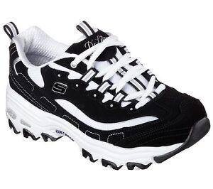 Women's Skechers D'Lites - Biggest Fan Casual Shoes 11930 /BKW Sizes 6.5-11 Blk