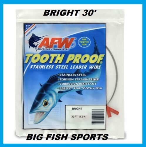 AFW TOOTH PROOF STAINLESS STEEL LEADER-Single Strand Wire-69LB Test 30FT BRIGHT
