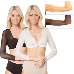 Women-Seamless-Arm-Shaper-Top-Short-Cropped-Navel-Slip-on-Mesh-Sleeves-Plus-Size
