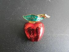 Gold Tone Enamel Apple Pin / Brooch With Rhinestone Accents
