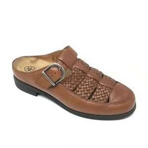 Women-039-s-Ariat-96829-Mules-Clogs-Shoes-Sz-7B-Brown-Woven-Leather-Buckle-Casual-O2