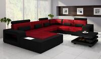 Eck Leder Textil Stoff Couch Sofa Garnitur Wohnlandschaft Polster Ecke Neu H2209