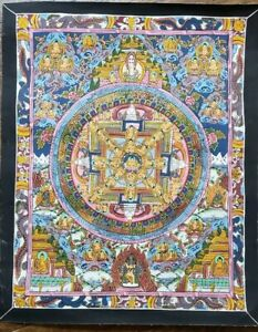 Antique-Or-Vintage-Nepalese-Buddhist-Hand-Painted-Thangka-Painting-w-gold
